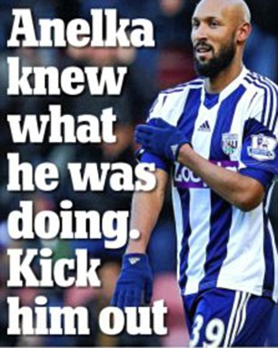 Headline: Martin Samuel called for Anelka to be kicked out for the gesture