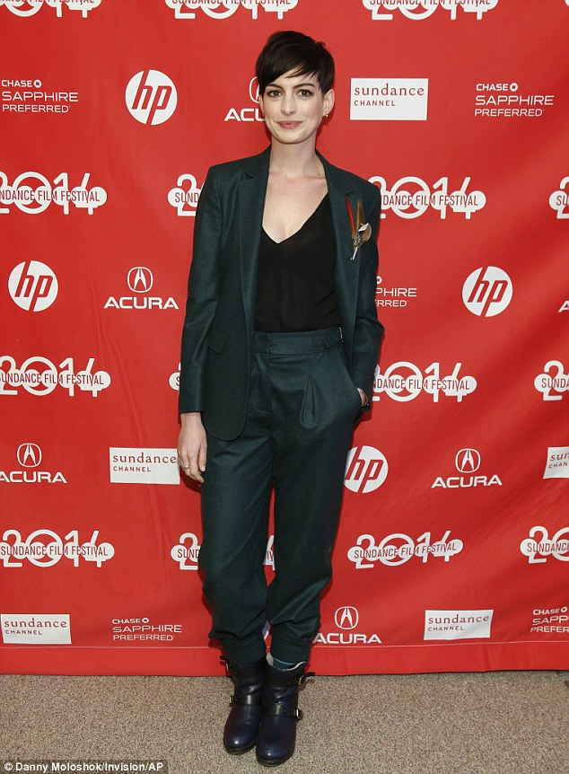 Low key! Anne Hathaway poses at the Monday premiere of the film Song One during the Sundance Film Festival