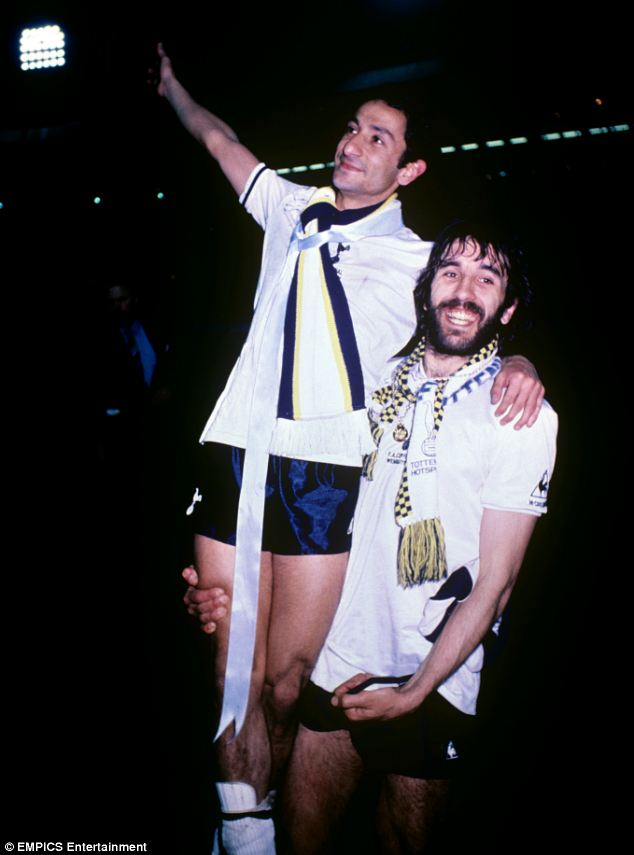 Tottenham Hotspur's Ossie Ardiles and Ricardo Villa celebrate victory in the FA Cup over Manchester City in 1981