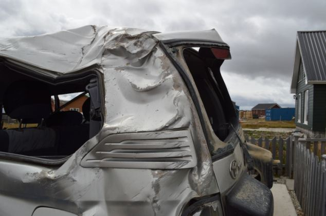 Mangled: The hire car was left twisted when it was recovered this morning