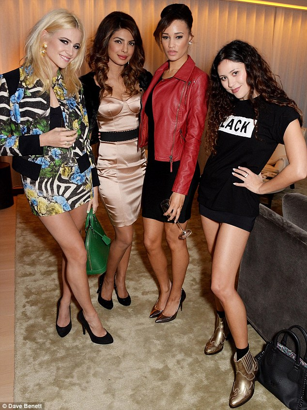 Style mix-up: The former Miss World winner was joined by Pixie Lott, Elarica Gallacher and Eliza Doolittle at the glitzy bash