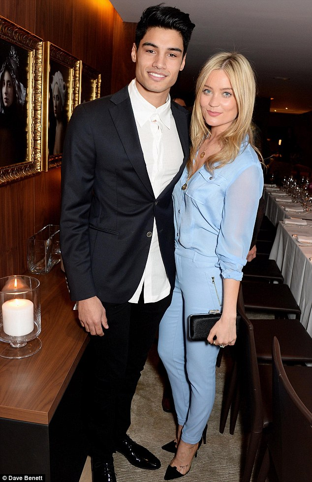 Feeling blue? Television presenter Laura Whitmore put on a typically stylish display in a sky blue jumpsuit as she posed with The Wanted's Siva Kaneswaran