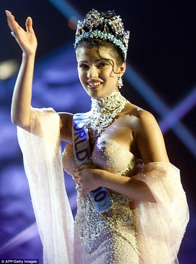 Former beauty queen: Priyanka was named the winner of Miss World in November 2000, at the age of 17