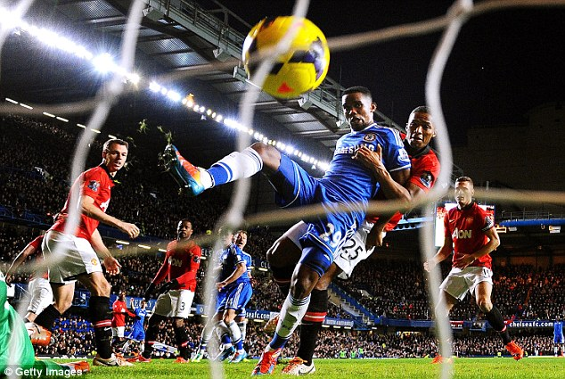 On target: Samuel Eto'o completes his hat-trick in Chelsea's 3-1 win over Manchester United on Sunday