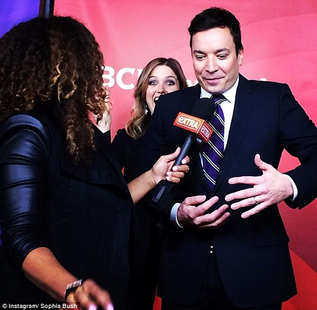 I'm behind you! Sophia shared a snap with fans after she photobombed Jimmy Fallon during his Winter Television Critics Association tour interview