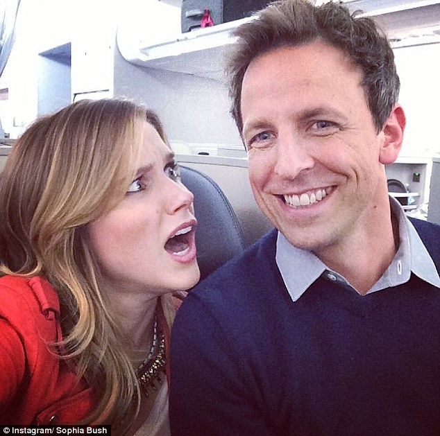 Look who I found! Sophia later shared a selfie with actor Seth Meyers when the pair caught the same flight on Tuesday