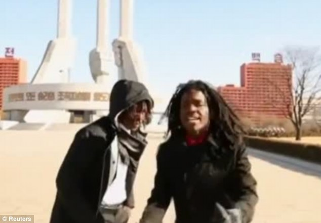 Return To North Korea: Washington DC rappers Pacman and Peso, real names Anthony Bobb and Dontray Ennis, spent five days in and around Pyongyang to film their music video