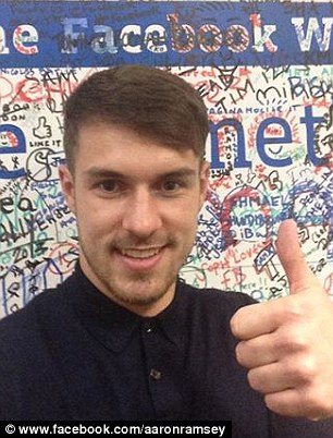 Thumbs up: Ramsey took part in a Facebook Q & A on Tuesday