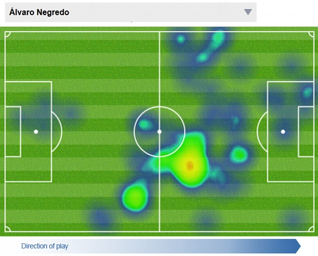 Causing trouble: Alvaro Negredo's heat map from the 3-0 win over West Ham at Upton Park