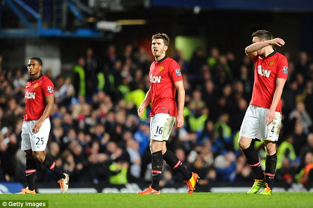 At a loss: Antonio Valencia, Michael Carrick and Phil Jones look dejected after conceding at Stamford Bridge