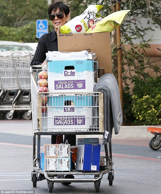 Going wild in the aisles: Kris Jenner went on an epic supermarket sweep in Los Angeles on Tuesday