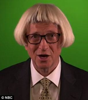 Strike a pose: Gates is seen wearing various wigs and using props to help entice viewers to visit GatesLetter.com