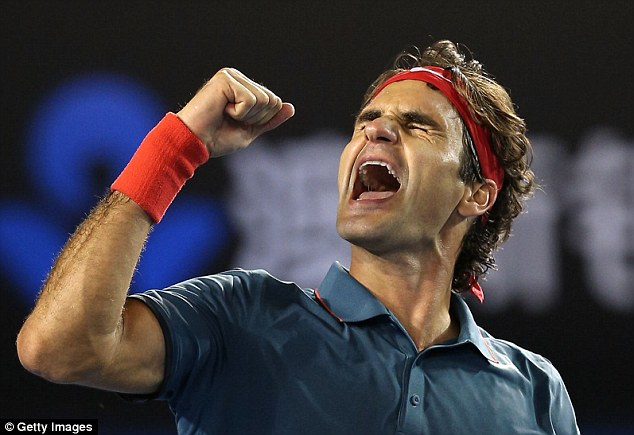 Triumphant: Roger Federer eventually upset Andy Murray 6-3, 6-4, 6-7 (6-8), 6-3 in the Australian Open quarter-finals