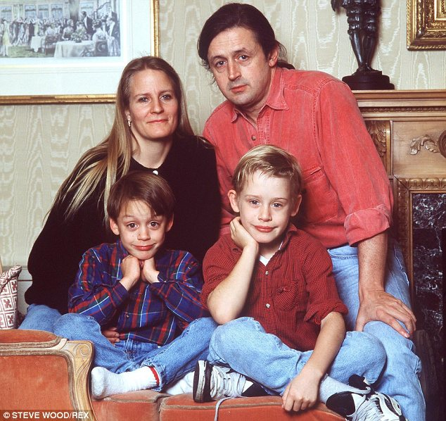 Hospitalised: Macaulay Culkin's father Kit is in intensive care after a major stroke. Pictured clockwise from right are Kit, Macaulay, Kiernan and Patricia Culkin in 1990