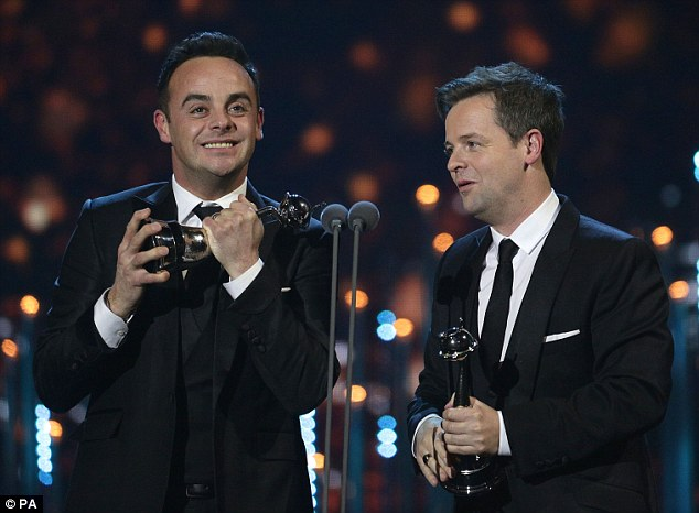 Chuffed: The presenting duo claimed the night's biggest prize in the Landmark Award at the National Television Awards on Wednesday evening