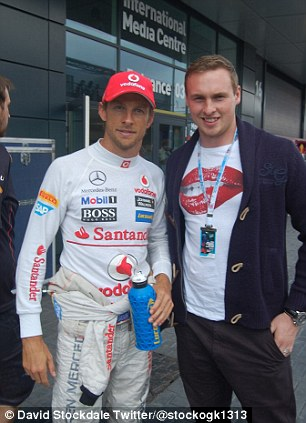 F1 fan: Stockdale poses with Jenson Button