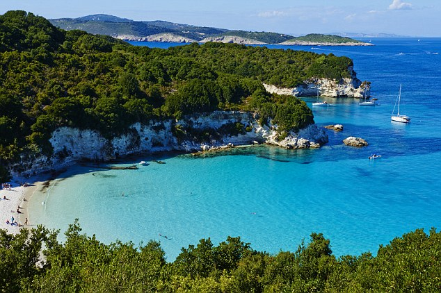 Paradise: Emerald Cove on the Greek island Antipaxos, with its calm turqoise waters and white sand beach, was a particular highlight of the family's week with Sailing Holidays