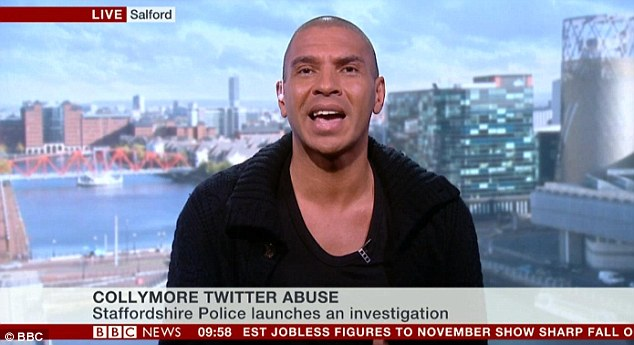 Upset: Collymore got in a row with a BBC News presenter who said he had been 'on the wrong side of the law'