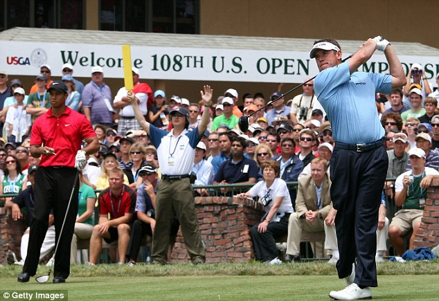 Near miss: Lee Westwood came close to winning a major after finishing a stroke behind Woods at the 2008 US Open