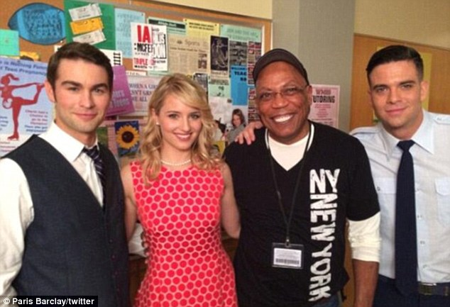 Cast and crew: Chace Crawford, who will guest star in the 100th episode of Glee, was pictured with Dianna Agron, Mark Salling, and director/producer/writer Paris Barclay in an image posted to Paris' Twitter account