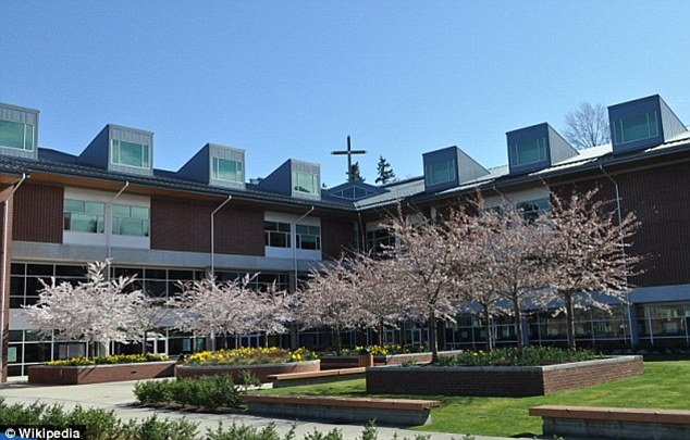 School: Eastside Catholic School, pictured, has about 900 students, mostly in high school. It is located in suburban Seattle, Washington