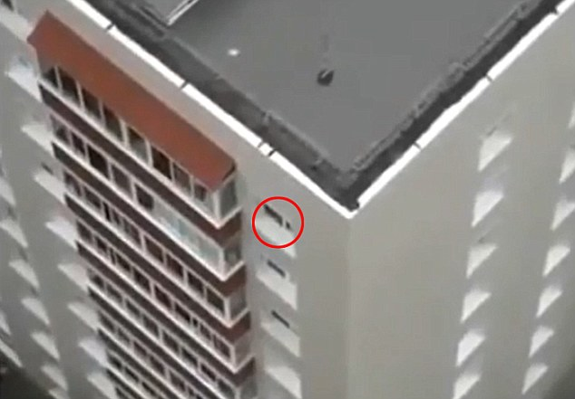High-rise hazard: It is only at the end of the film, believed to have been taken in India, that the youngster appears to be grabbed by someone inside the flat (circled)