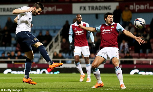 Heading for the final: Negredo (left) nodded in City's opener early on against West Ham on Tuesday