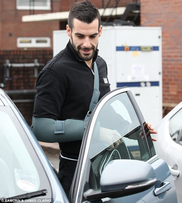 Sling star: Alvaro Negredo leaves the Bridgewater Hospital in Manchester after a scan on his shoulder