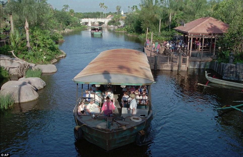 All aboard: A river boat leaves the dock at Safari Village in Disney's Animal Kingdom in 1998