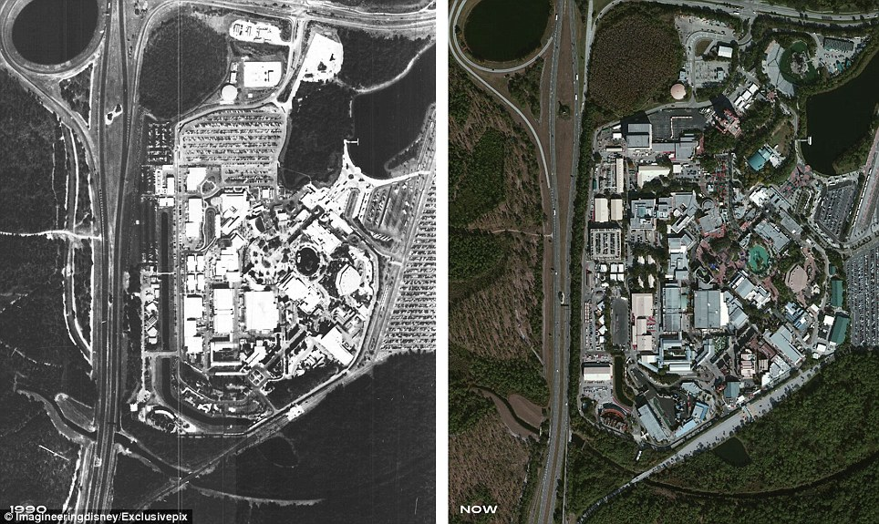 Disney's Hollywood Studios, originally known as Disney-MGM, the third of four Florida theme parks, a year after opening its doors in 1990, left, and today