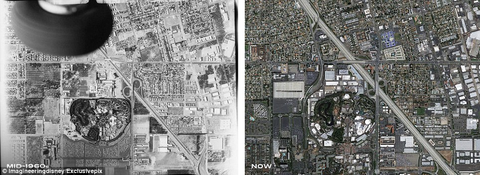 Then and now: An aerial view of the original Disneyland park seen from above in the mid 1960s, left, and as it is today, right