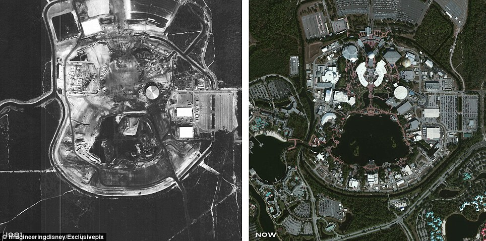 Epcot, the second of four theme parks built at Walt Disney World,  Florida. It seen from above during construction in 1981 and in the present day