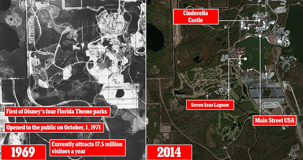 Magic Kingdom, the first of the four Florida theme parks is captured from above in 1969 (left) with a view of the same area today showing how it has changed over the years