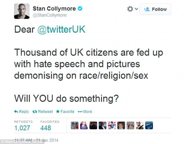 Call to action: Mr Collymore has received dozens of messages of support from his followers but he has now quit the social network