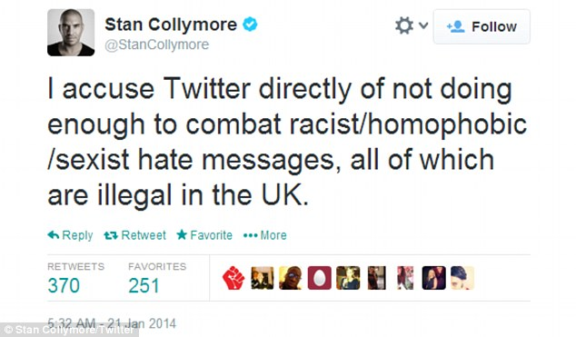 Anger: The former footballer blames the U.S.-based web giant for failing to stop the flood of vile messages