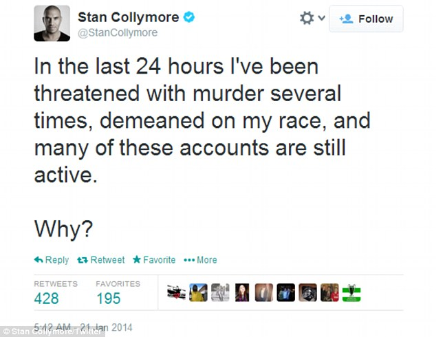 Claims: Mr Collymore has repeatedly been targeted by racist trolls and has even received death threats
