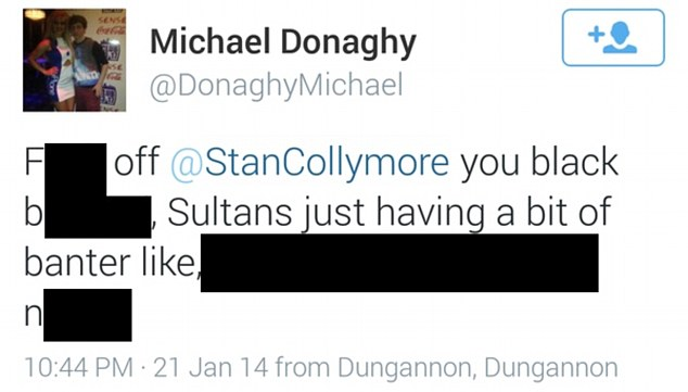 Abuse: Police have launched an investigation over this message, which Mr Collymore retweeted to his followers