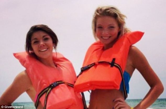Best friends: Sidney, right, was hurt with her friend Alexis Fairchild, left, while on vacation in Florida last July. Their para-sail detached from its boat, sending them smashing into a condo