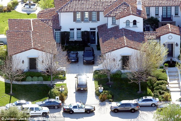 Raid: Police arrived to raid Justin's Calabasas mansion after Los Angeles law enforcement executed a felony search warrant last week