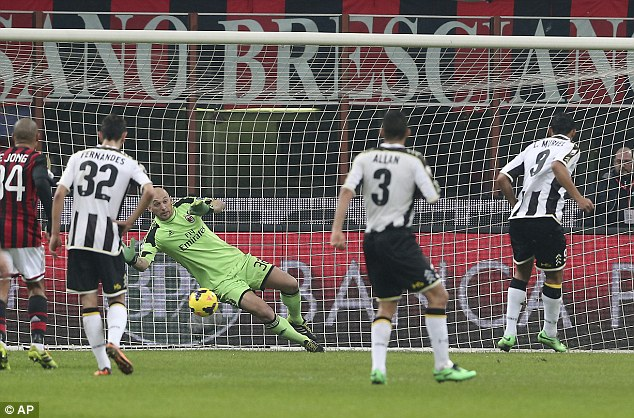 Back on level terms: Udinese's Colombian striker Luis Muriel, right, scores a penalty against AC Milan