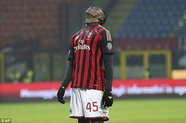 Poor night: Balotelli rues missing a chance against Udinese at the San Siro