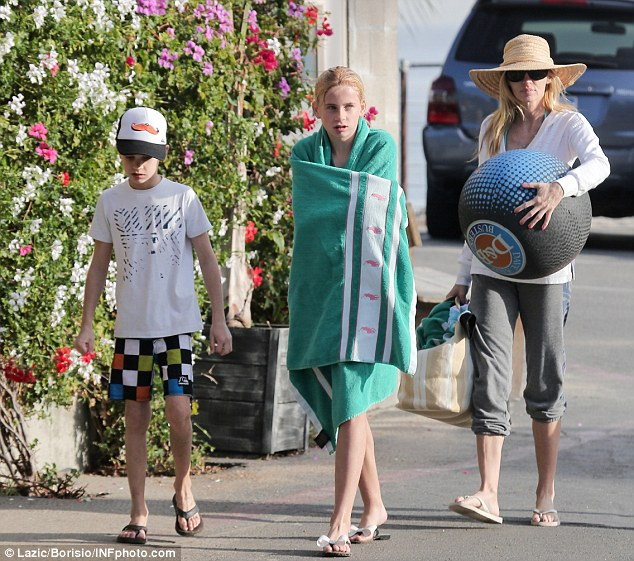 Family outing: Camille was seen out with her children, Mason and Jude as they enjoyed a sunny day in Malibu