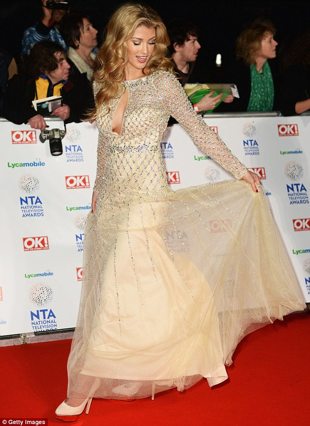 Fairytale princess: Amy Willerton well and truly cemented her place among the elite of the small screen as she arrived at the 2014 National Television Awards at London's The O2 on Wednesday night