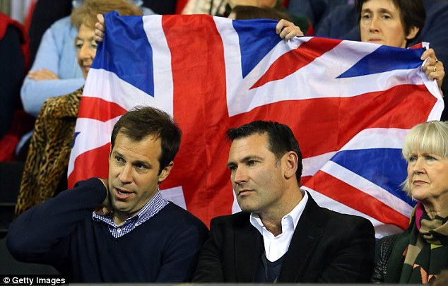 Legacy: Roger Draper (right), with Greg Rusedski, has left a slashing in funding to lawn tennis