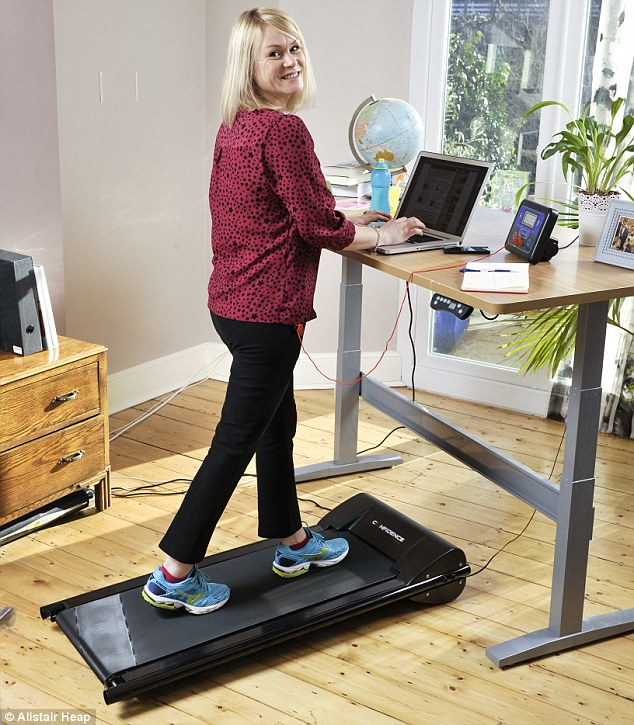 Walk while you work: Laura tests out the Office Fitness desk