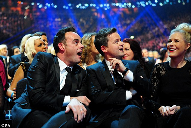 Dynamic duo: Ant and Dec looked on in shock as they were told they had been awarded the Landmark prize
