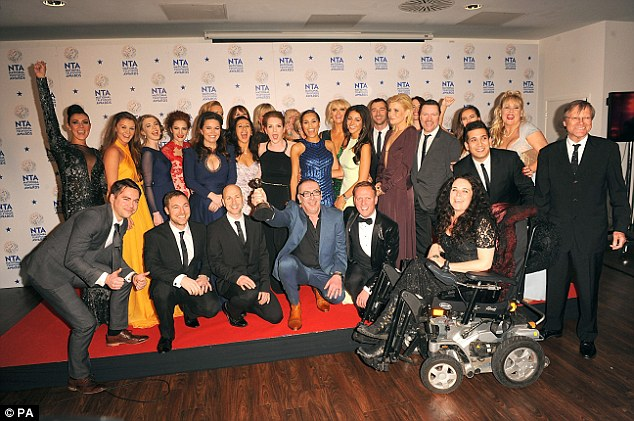 Cause for celebration: It was a night of celebration for the Coronation Street team, with the soap named Best Serial Drama