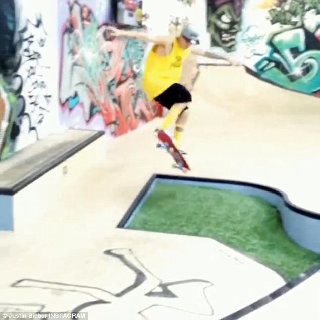 Air Bieber: Justin posted this image of himself skateboarding on the internet on Wedenesday