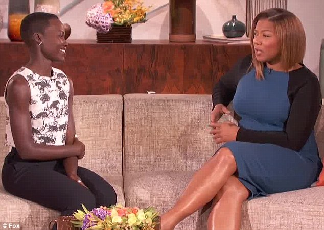 Up bright and early: Lupita was more casually dressed for The Queen Latifah Show