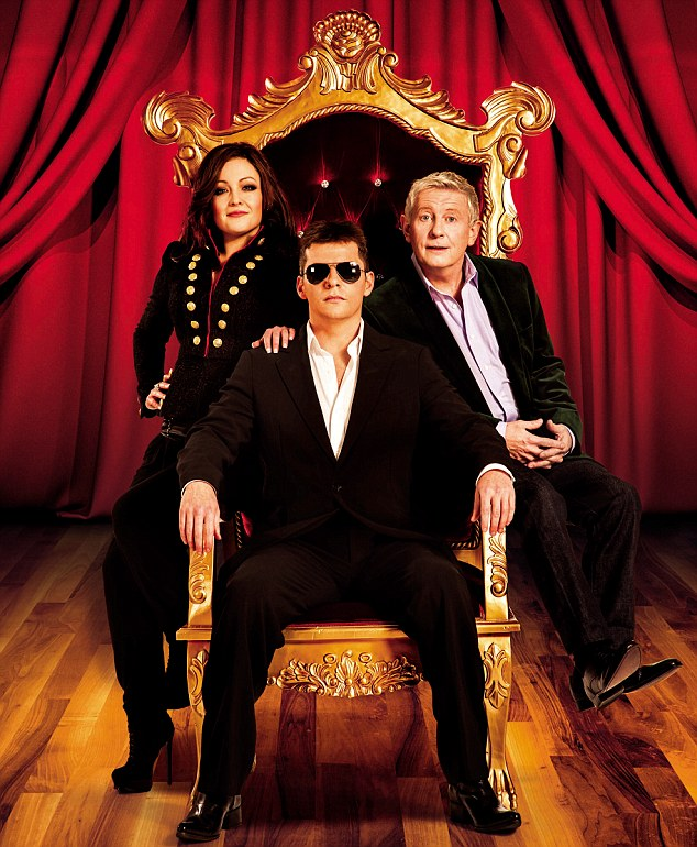 Uncanny: The actors in the new musical comedy look just like X Factor's former line-up... Simon Cowell, Louis Walsh and Cheryl Cole